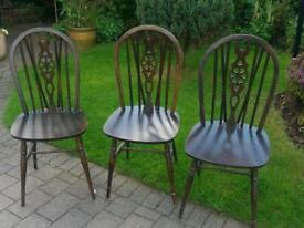 4x vintage fiddleback spindle chairs