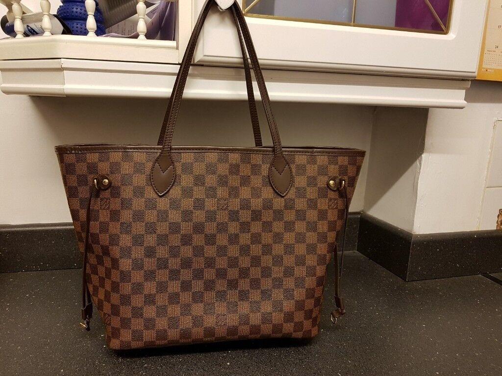 Lv louis vuitton neverfull tote handbag   genuine   cherry interior damier  camvas MM Not pm gm 11442f73e3fe7
