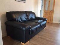 Black Italian leather 3 & 2 seater sofas