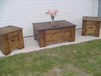 BEAUTIFUL FURNITURE: COFFEE TABLE SET, SHELF, BENCH