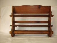 ANTIQUE FRENCH KITCHENALIA WOODEN SPICE RACK WITH A KITCHEN ROLL HOLDER.