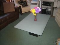 Frosted Glass Coffee Table on Black box style stand