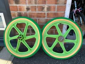 Pair of genuine Skyway BMX Mag wheels with brand new tyres