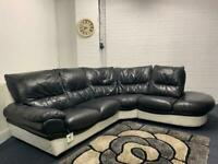 Sold pending Real leather black & white corner sofa delivery 🚚 sofa suite couch furniture