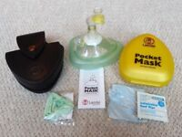 Laerdal PocketFace Mask with O2 Inlet & Leather Belt Pouch Holder