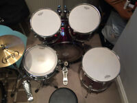 drum kit 230 £ stool, high hat cymbals, bass drum pedal,new heads