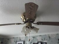 pine flush fitting 4 bladed ceiling light & fan.