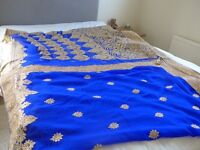 Exquisite saree, royal blue and gold, with blouse and underskirt