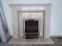 Marble fire surround and electric coal effect fire