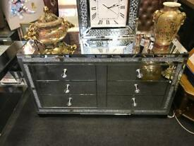 Sparkle Crystal Mirrored Large Chest Of Drawers