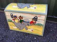 Old Vintage painted dome top toy box