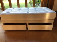 single 3ft divan bed with 2 drawers and new Sealy mattress (firm)