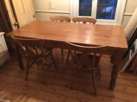 Country style pine dining table