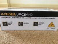 Behringer u-phoria UMC204HD USB audio midi interface