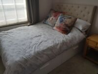 Ikea white double bed with 4 drawers and cream headboard and matress