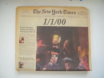 VG January 1 2000 1/1/00 New York NY Times Newspaper Complete NY Late Ed w/Photo on Rummage