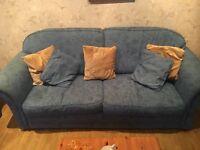 Comfy 3 Piece Blue Sofa Set