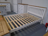 """Brand New 4'6"""" Bed High Foot End Or Low Foot End in White Or Distressed Waxed Pine. Can Deliver"""