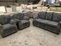 Grey leather and chord 3 + 1 + 1 sofa suite