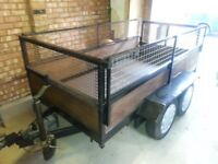 8x4 ft twin axel car trailer fully refurbed with removable sides