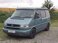 VW T4 Blibo's Celeste 4 berth campervan with elevating roof, 5 seat belts with two double beds