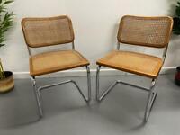 Pair of Retro Marcel Breuer Cesca Style Bauhaus Chairs