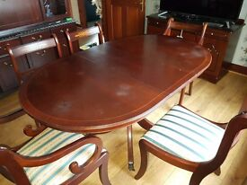 Dinning Table with 5 seats ( 3 Chairs and 2 Carvers )