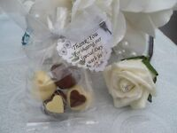 100 bags of high quality belgian chocolate wedding favour hearts.