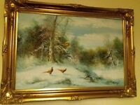 Oil painting winter pheasants