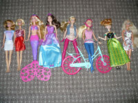 Bundle of 8 Barbie and Disney Princess Dolls. 5 Unused, 3 Vintage, Mermaid, Bike