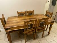 Solid wood dining table, 6 chairs and coffee table