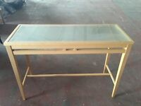 Wood Glass Top Table