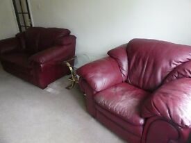 Quality Red Leather Suite Two Seater and Pair of Single Seaters