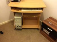 Computer with desk and chair