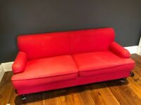 2 x Red 3-seater sofas