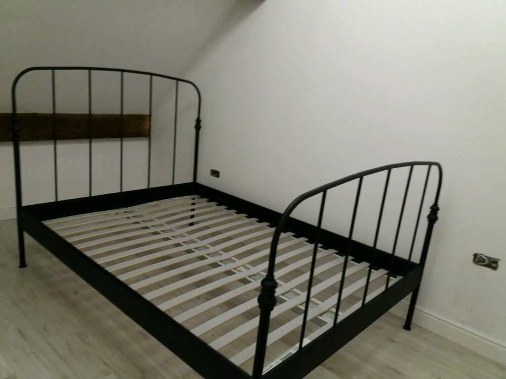 black metal bed frame ikea in billinge manchester gumtree. Black Bedroom Furniture Sets. Home Design Ideas