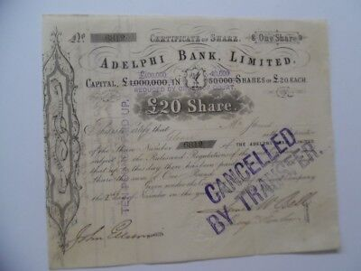 1863 ADELPHI BANK LIMITED Share Stock Certificate Liverpool England Antique UK