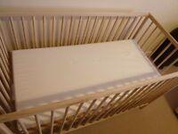Ikea Singlar Baby Cot & Mothercare Mattress
