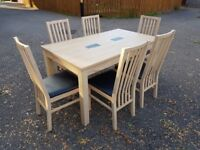 150cm Oak Veneer Dining Table & 6 Solid Oak & Black Leather Chairs FREE DELIVERY 367