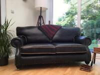 Lovely Chesterfield Club style Sofa/Settee Graphite Grey Leather Deliver on Castors Avail £289 ono