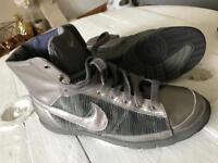 Nike silver & crushed silk high tops