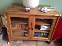Wooden Cabinet with glass doors and three shelves