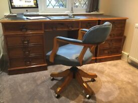 Traditional Yew wood Computer Desk & File drawer unit with swivel chair