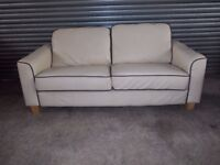 Ivory Leather Sofas (Suite) with matching Footstool
