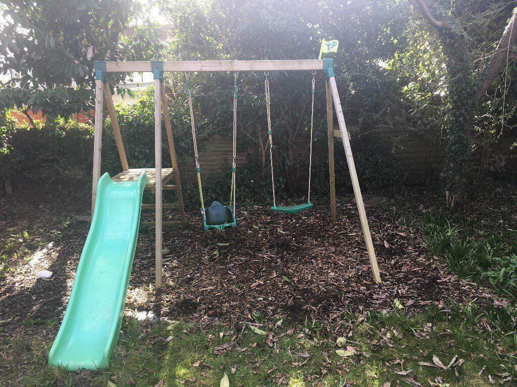 TP Forest Double Multi-Play Swings and Slide set including Quadpod 4 in 1 swing