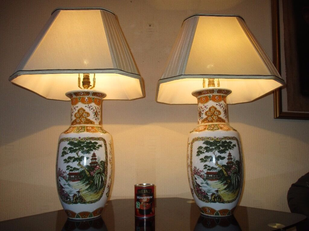 Pair Of Huge Vintage Oriental Table Lamps With Shades