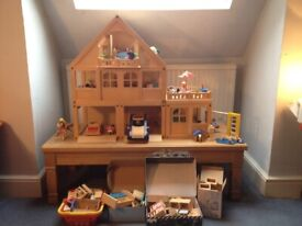 Huge 3 storey wooden doll's house + extras