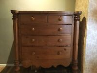 Victorian pine bow fronted chest of drawers