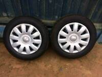 SEAT WHEELS WITH TYRES WITH CAPS x2