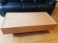 Modern Coffee Table - Wooden with Glass Cover - excellent condition - storage